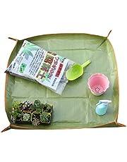 Delaspe - Alfombrilla impermeable para trasplantes, 4 botones, para jardinería, herramienta de jardín, verde