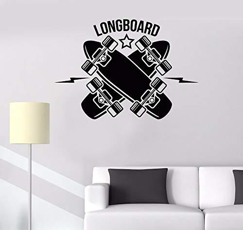 xinyouzhihi Teen Kids Baby Schlafzimmer Dekoration Longboard Skateboarding Sport Art Design l Aufkleber Vinyl Art Remova85.5x60cm