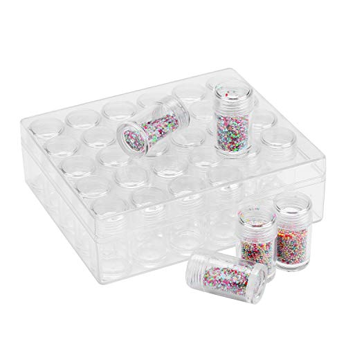 Diamond Bead Storage Containers, 30 Pcs Removable Clear Plastic Organiser with Lid for Nail Art Rhinestone Jewelry DIY Diamond Cross Stitch Tools and Other Small Items