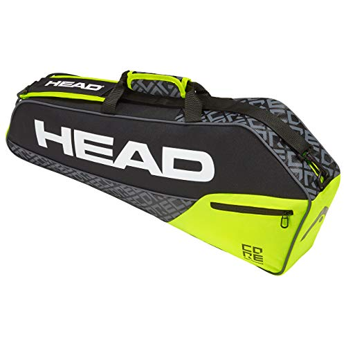 HEAD Core Pro 3R Tennis/Squash/Badminton Racquet Bag (Black/Yellow)