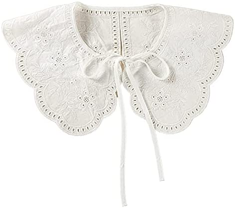 XKMY Decorative Fake Collar Shawl Embroidery Sunflower Lace Necklace Short Capelet (Color : White)