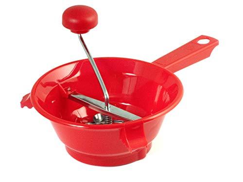 Home 8003512176029 Passaverdura a 3 Dischi, 20 cm, Inossidabile, Rosso/Acciaio, 33x21x16 cm