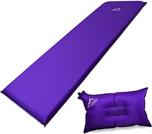 normani Selbstaufblasbare Luftmatratze inkl. Kissen zum Outdoor Camping Farbe Violett Größe 200 x 70 x 15 cm