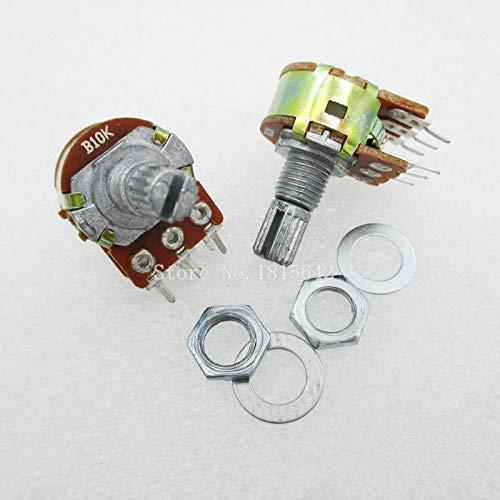 5 unids/lote potenciómetro estéreo dual B10K 10K eje lineal 15mm 6Pin WH148...