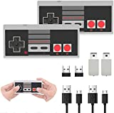 Wireless Game Controller for NES Classic Mini Edition, (2 Pack) 2.4G Wireless Rechargeable Gamepad with Receiver, Compatible with Nintendo NES/SNES Classic Console Game System
