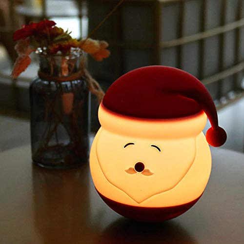 7-Color Warm Light Touch Portable LED Sleep Lamp,Cute Santa Claus Night Light,USB Power Cute Atmosphere Lamp Rechargeable Baby Bedroom Decorative Table Lamp,Festival Toy Gifts Light for Kids.