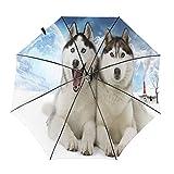 Huskies In The Snow Travel Paraguas plegable portátil compacto ligero diseño automático y alta resistencia al viento