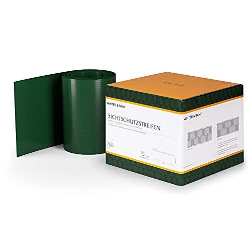 Winter & Bani by Blumfeldt - Tiras de protección Visual, Material PVC Duro, Sin Clips de fijación, Resistente a Rayos UV e Intemperie, Dimensiones 2,53 x 0,19 m, 10 Piezas, Verde