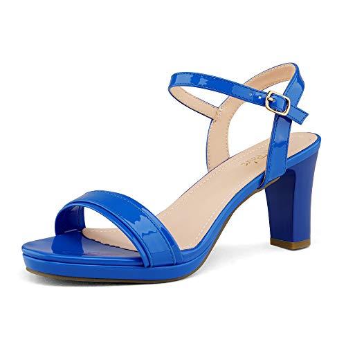 DREAM PAIRS Women's Royal Blue Pu Open Toe Chunky High Heels...