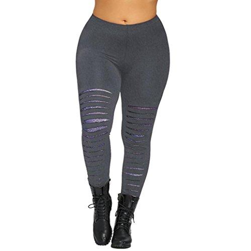 Homebaby - Pantaloni Sportivi Donna Push Up Taglie Forti - Eleganti Pantaloni Casual Yoga Leggings Opaco Yoga Fitness Spandex Palestra Estate Leggins Sportivi - Pantaloni Tuta Donna (5XL, Grigio)