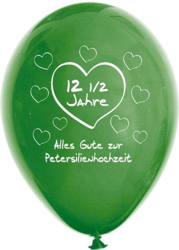 Unbekannt 10 grüne Luftballons 12,5 Jahre - Petersilienhochzeit, ca. 30 cm