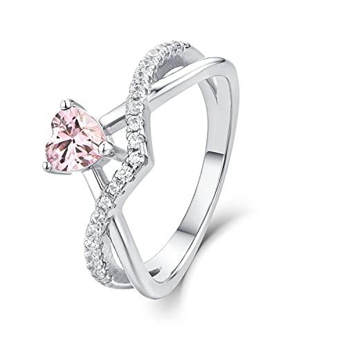Starchenie Anillos de compromiso con corazón para mujer de plata 925, anillos de boda cruzados con corazón de 0,5 quilates, 5 A, circonita cúbica,