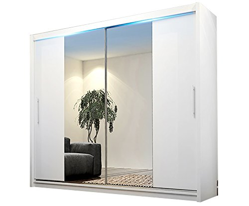 Ye Perfect Choice Modern Wardrobe Mirror Sliding Doors Hanging Rail Shelves AVA 4 Closet 180cm 5.9ft (White with LED Lights, Without Carrying Service)