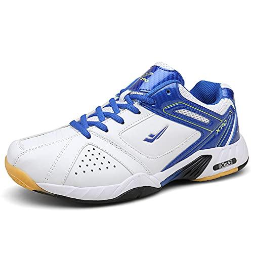 FJJLOVE Chaussures Badminton pour Hommes, Chaussures De Tennis De Table Léger Panneaux De Sport À Pied Steaux De Gym Athlétique D'intérieur Intérieur Extérieur,Bleu,42