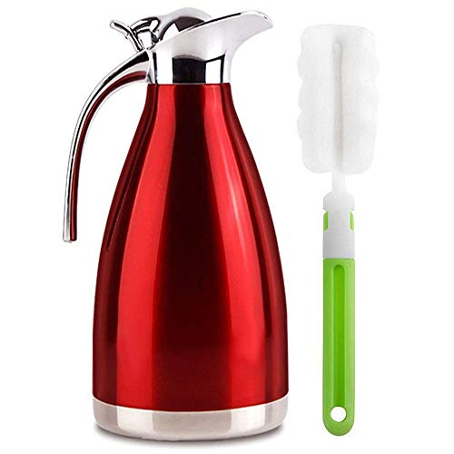 Vacuum Jug 304 Stainless Steel Double-Wall Thermal Carafe Coffee Pot Anti-Leakage Anti-Splashing Juice Milk Tea Pot Insulation (Red, 2L)