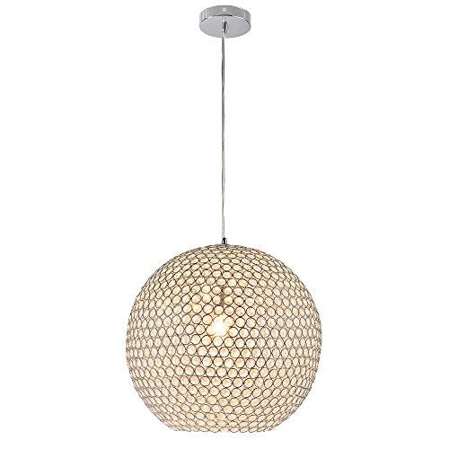 Hängeleuchte Durchmesser 40 cm Kugellüster Deckenlampe Edelstahl Kunstkristall 1xE14