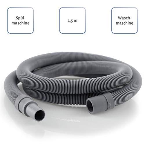 Ablaufschlauch-Verlängerung für Waschmaschinen-/Spülmaschinenschlauch, 1,5 m (Verlängerungsschlauch, gerader Anschluss, 20mm Innendurchmesser) Abwasserschlauch Verlängerung