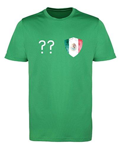 Comedy Shirts - Mexico Trikot - Wappen: Klein - Wunsch - Herren Trikot - Grün/Weiss Gr. M