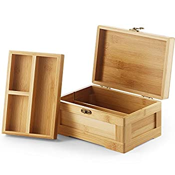 Wooden Stash Box with Rolling Tray Stash Box Combo to Organise your Herbs and Accessories - Rolling Kit with Removable divider - Large stash box and Jewelry box  Bamboo