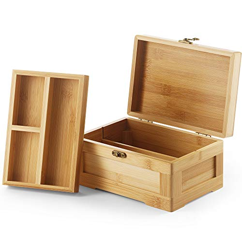 Wooden Stash Box with Rolling Tray Stash Box Combo to Organise your Herbs and Accessories - Rolling Kit with Removable divider - Large stash box and Jewelry box (Bamboo)