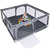Baby Playpen,70'' Extra Large Kids Play Yard with gate, Anti-Slip Anti-Collision Child Activity Children Fence ,Sturdy and Safety Indoor Outdoor Play Area for Boy Girl Infants Toddlers