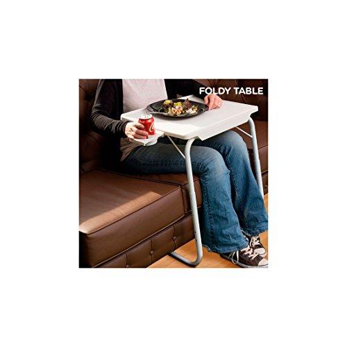 Hasëndad Table Pliable avec Porte-gobelets, Plastique et Aluminium, Blanc, 53 x 40,5 x 75 cm