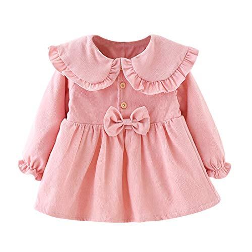 Vestido 6-24 Meses Pana para Bebé Vestidos para Niñas Princesa Infantil Falda Fiesta con Bowknot Solapa de...