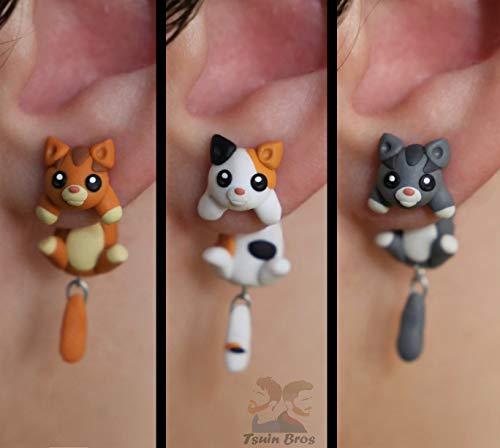 Boucles d'oreilles chat 100% fait main. Vendu par paire de boucles d'oreilles.