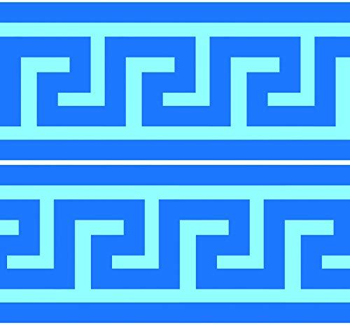 Selbstklebende Bordüre Mäander, 4-teilig 560x15cm, Tapetenbordüre, Wandbordüre, Borte, Wanddeko,Griechenland, Fluss