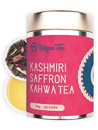 Udyan Kashmiri Saffron Kahwa Tea 50G - Champagne Gold Gift Caddy, Loose Green Tea With Saffron Rose Almonds Spices
