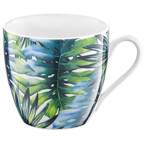 Ambition 40068 Becher Tropical 510 ml Blätter Trinkbecher Porzellanbecher Teebecher Kaffeebecher spühlmaschinengeeignet mikrowellengeeignet tolle Geschenkidee Porzellan Mehrfarbig pflnazenmotiv