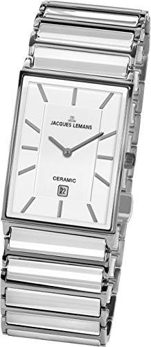 JACQUES LEMANS Herren Analog Quarz Uhr mit Edelstahl Armband 1-1593.1E