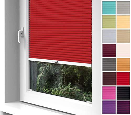 Home-Vision® Premium Plissee zum Anschrauben in der Glasleiste Innenrahmen (Rot, B35cm x H100cm) Blickdicht Plissee Jalousie mit Halterungen zum Bohren, Sonnenschutzrollo Rollo