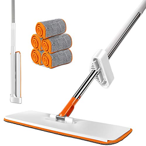 Easy Self Wringing Mop, 360 Spin Lazy Flip Flat Mop with 5 Reusable Refills, Wet & Dry Mop for Home Bathroom Kitchen Cleaning