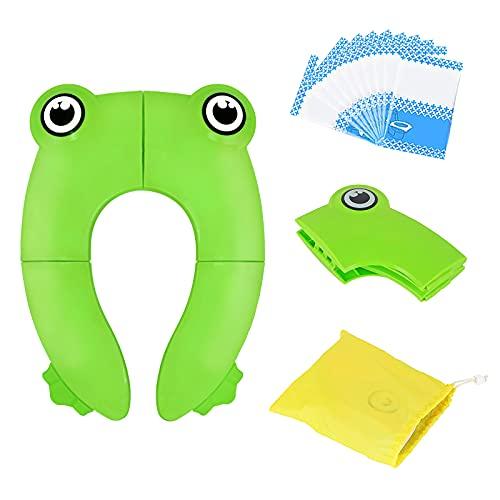 Riduttore WC per bambini Viaggia portatile Pieghevole Riutilizzabili sedile Potty Training Con: sedile del water usa e getta 10 PCS (verde)