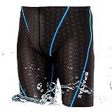 競泳水着 メンズ フィットネス 男性用 スイムウェア ジム ハーフスパッツ メンズスイミング (L, ブラック)