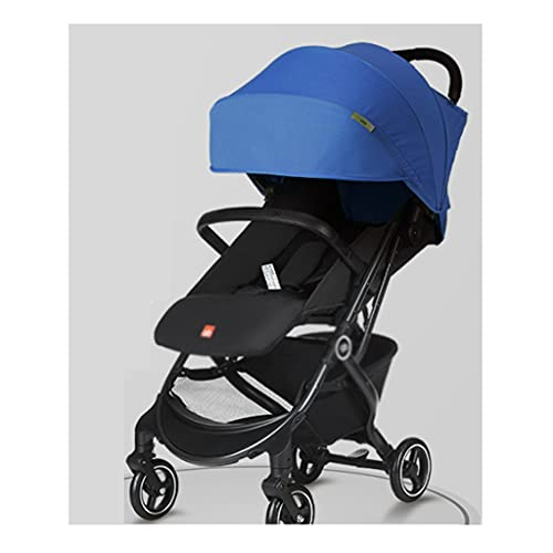 Yyqx sillas de Paseo Cochecito de bebé, con una Mano Plegable Ultra Light Reclining Boarding Pocket Coche para bebés Cochecitos, instalación Gratuita (Color : Blue)