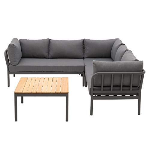 OUTLIV. Calero Loungeecke 235x235x68,5 cm aus Aluminium/Polyester/Teak Sitzecke in Anthrazit/Teak Outdoor Gartenlounge Set für bis zu 5 Personen