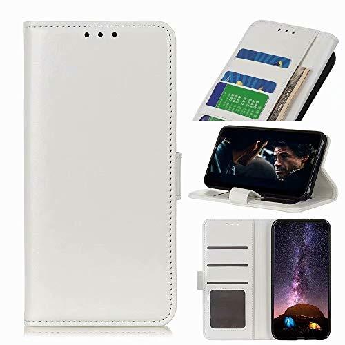 Schutzhülle für Xiaomi Redmi 9, Premium-Leder, stoßfest, Brieftaschenformat, Magnetverschluss, Klapphülle mit Standfunktion, vollständiger Schutz, kompatibel mit Xiaomi Redmi 9, Weiß
