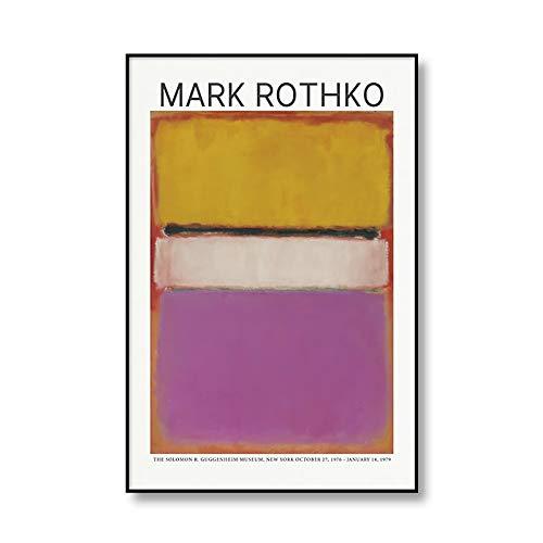 Carteles e impresiones abstractos clásicos de Mark Rothko, pintura Art Deco de pared, pintura en lienzo sin marco para el hogar moderno A3 70x100cm