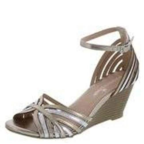 Montego Bay Club Womens Prima Strappy Wedge Sling Sandals Heels Shoes (12, Metallic)