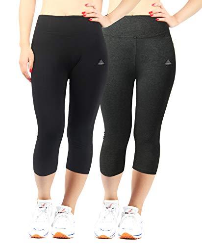 iloveSIA Women's Plus Size Yoga Pants Ultra Soft Cotton Stretch Leggings Black+Grey Size 3X
