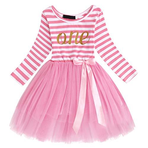 FYMNSI Kleinkinder Baby Mädchen 1 Jahr Geburtstag Party Kleid Gestreift Tüllkleid Langarm Baumwolle Prinzessin Tütü Festkleid Streifen Herbstkleid Freizeit Fotoshooting Bekleidung Rosa