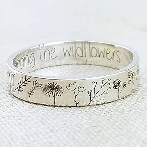 SPACELQ Simplicidad Vintage Anillo de Flores Tallado para Mujeres Hombres Bohemian Delicate Wildflowers Floral Daisy Anillo Hecho a Mano para el Regalo Femenino