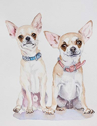 5D DIY Diamond Painting Kits for Adults Two Chihuahua Dog Full Drill Crystal Embroidery Cross Stitch Arts Crafts for Home Wall Decor(Square Drill 11.8 Inch'X15.7 Inch')