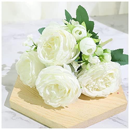 YYOBK TS Flores De Decoración Romántica De La Boda, Flores Falsas Artificiales, Rosas Artificiales Y Flores De Peonía para Uso A Largo Plazo (Color : White)