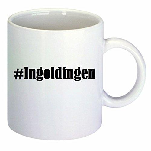 Kaffeetasse #Ingoldingen Hashtag Raute Keramik Höhe 9,5cm ? 8cm in Weiß