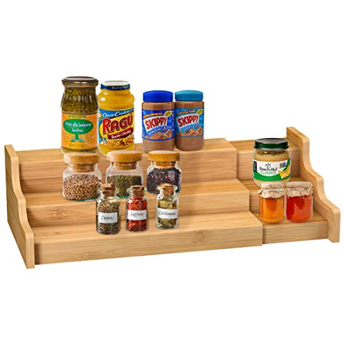 Spice Rack Kitchen Cabinet Organizer- 3 Tier Bamboo...