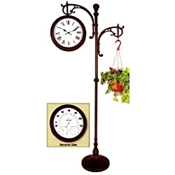 Backyard Creations 73 Double Sided Pedestal Clock / Weather Station With Plant Holder