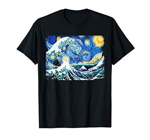 Starry Night and Great Wave Van Gogh Art Painting T Shirt T-Shirt